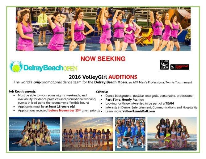 Seeking VolleyGirls for 2016 DelrayBeach Tennis Open