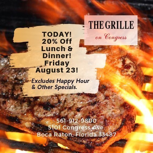 20% Off at The Grille On Congress This Friday