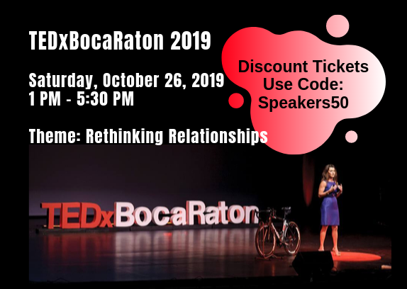 Save TEDxBocaRaton, Saturday, October 26, 2019