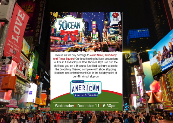 50 Ocean – 42nd Street, Broadway, and Times Square Holiday Wine Dinner & Party