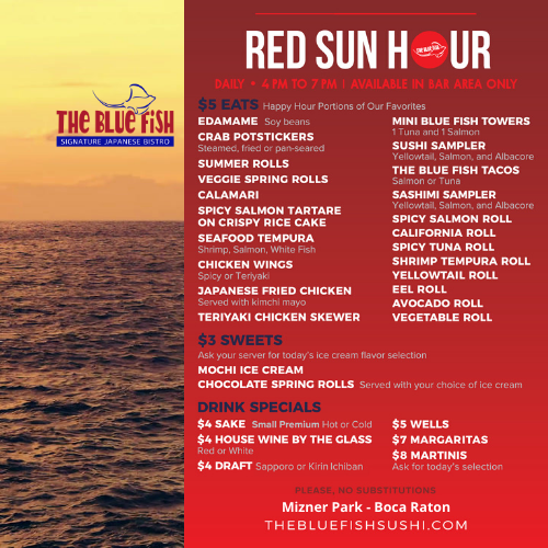Red Sun Happy Hour at The Blue Fish Boca Raton