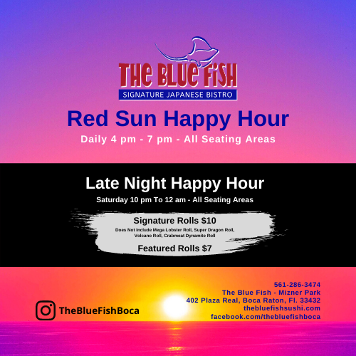 Red Sun Happy Hour and Late Night at The Blue Fish Boca Raton