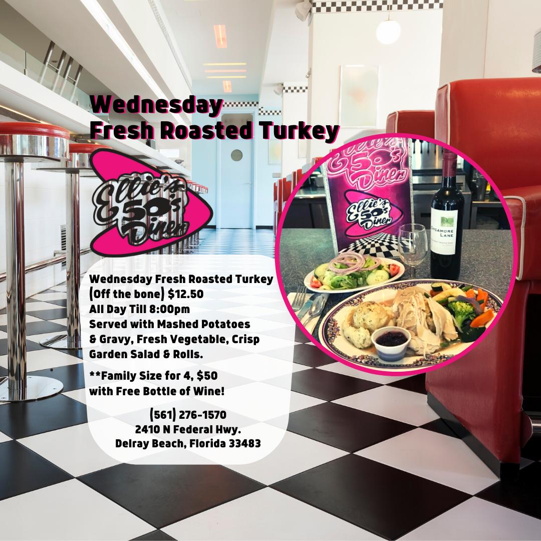 Turkey Dinner at Ellie's 50's Diner in Delray Beach