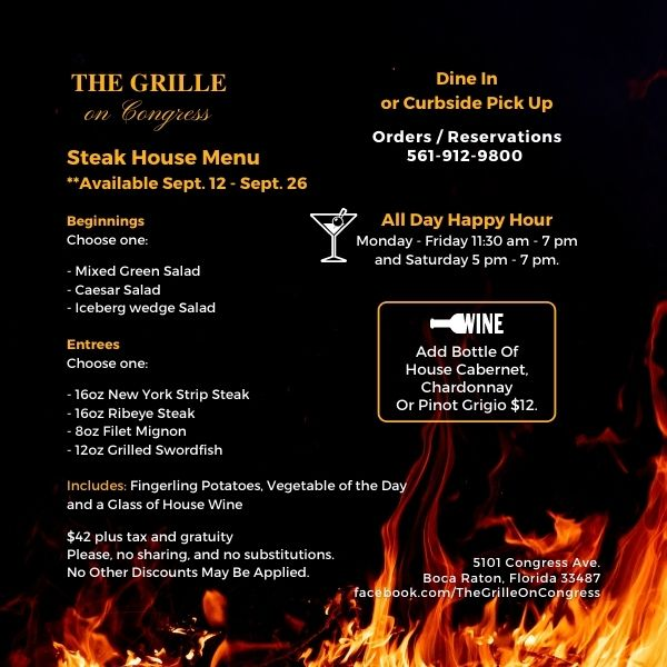 The Grille Steak House Menu