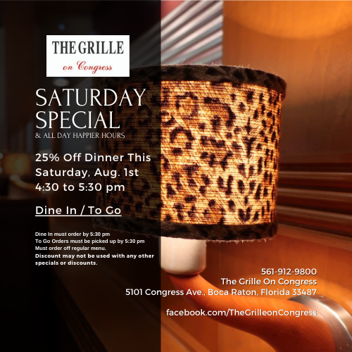 25% Off Dinner at The Grille On Congress 4:30 - 5:30 pm Only