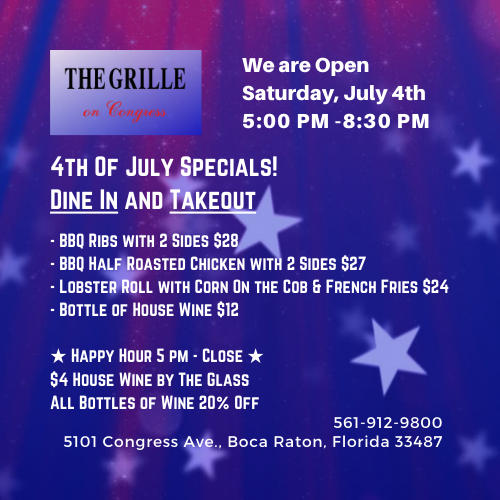 4th Of July Specials at The Grille On Congress!