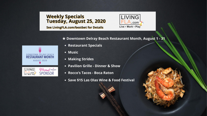 LivingFLA Events and Restaurant Specials For Week of August 24