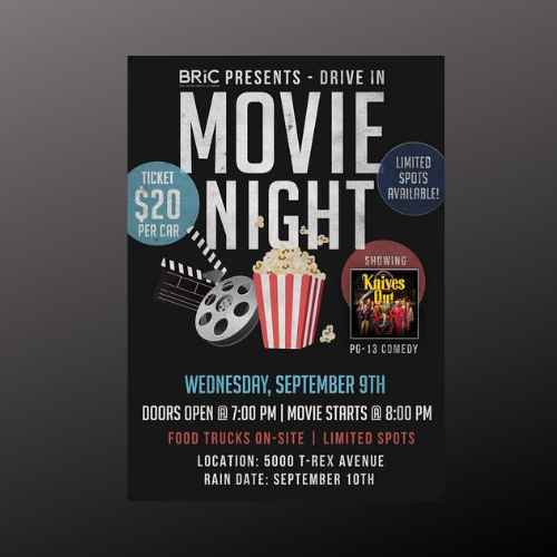 BRiC's Drive-In Movie Night ($20 per Car Load)