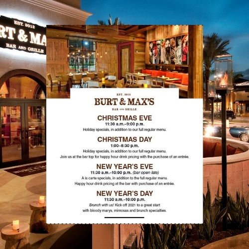 Burt & Max's Christmas and NYE Happenings