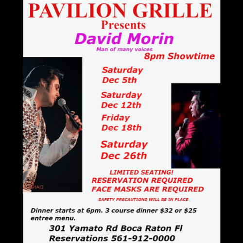 Pavilion Grille Dinner and a Show with David Morin