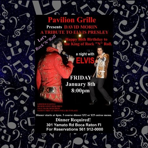 Pavilion Grille Dinner and a Show - Celebrate Elvis's Birthday with David Morin